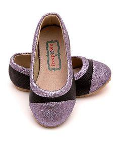 Look what I found on #zulily! Black Glitter Tiptoe Flat #zulilyfinds