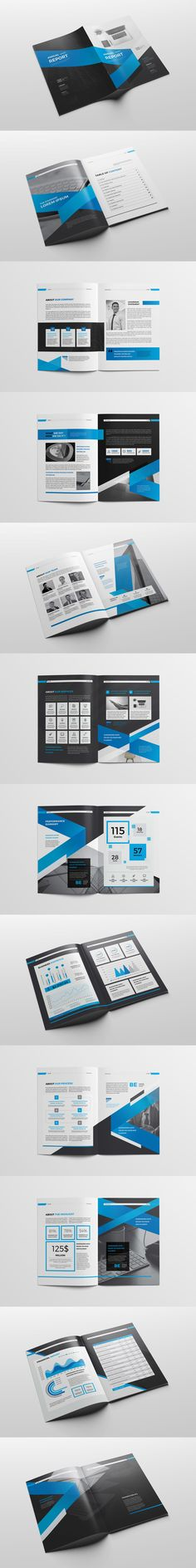 Blue Square Annual Report Brochure Flyer Design Template Vector - annual report templates free download