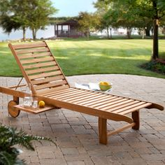 Have to have it. Bellora Acacia Chaise Lounger with Pullout Table - $199.98 @hayneedle.com