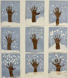 Winter Hand Print Tree with Snowy Fingerprints - Fun-A-Day! Winter hand print tree art to make with the kiddos! Talk about how trees change throughout the year as they use their hands and fingers to create art. Kids Crafts, Christmas Crafts For Kids, Christmas Art, Winter Crafts For Preschoolers, Winter Preschool Activities, Winter Crafts For Toddlers, Winter Trees, Winter Fun, Winter Snow