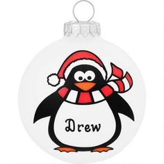 Personalized Penguin With Santa Hat Glass Ornament - $11.99 - Bronner's CHRISTmas Wonderland