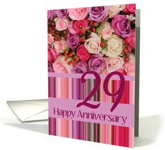 29th Wedding Anniversary Card - Pastel roses and stripes card