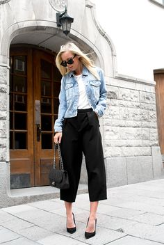 spring / summer - street chic style - street style - work outfits - office wear - summer outfits - white tee + denim jacket + black culottes + black suede stilettos + black quilted shoulder bag + black sunglasses
