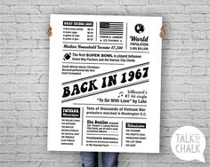 Back In 1967 50th Birthday DIGITAL Poster Printable 60th