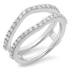 Elora 14K Gold 1/2ct TDW Round Diamond Double Ring Enhancer Wedding Band (H-I, I1-I2) (Size 4.5, Yellow Gold), Women's, White H-I