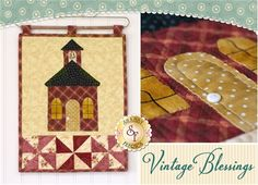 """Vintage Blessings Wall Hanging Kit - September: Decorate your home all year long with this beautiful Vintage Blessings Wall Hanging by Jennifer Bosworth of Shabby Fabrics. This applique kit is for the September design. Wallhanging measures 12"""" x 18"""". Kit will include pattern, all top fabrics, and backing!"""