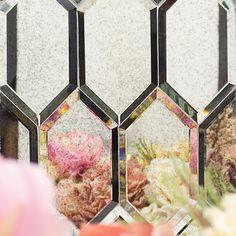 Beveled Paris Gray Hexagon Mirror Glass Tile