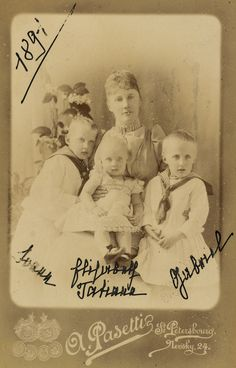 Grand Duchess Elisabeth Mavrikievna with her three eldest children
