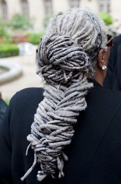 Mama is rockin' these silver, fishtailed #locs! Gorgeous!