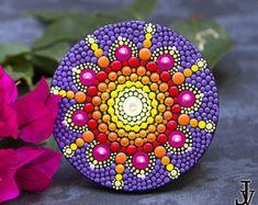 Mandala Dot Art fridge magnet, home boho decor, acrylic paint, mandala wall art, mandala hand painting