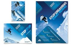 Ski and Snowboard Instructor Flyer and Ad Design Template by StockLayouts