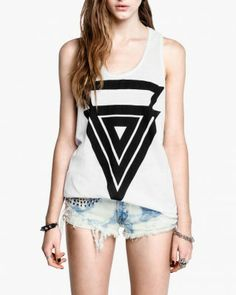 d3affa106d4bc Summer Fashion Sleeveness Round Neck Plus Size Hand-Painted Triangle  Pattern Printed White Cotton Vest