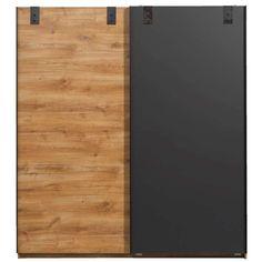 Schuifdeurkast Detroit - eikenkleur/grafiet - 198x180x64 cm Bamboo Cutting Board, Detroit, Entrance, New Homes, Deco, Furniture, Bedroom, Products, Entryway