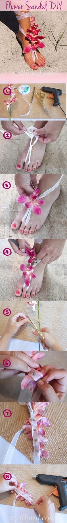 Beach wedding sandal!! So pretty! Made from silk flowers this DIY sandal is a perfect complement to your beautiful beach wedding day! And so easy to make! #beachsandal