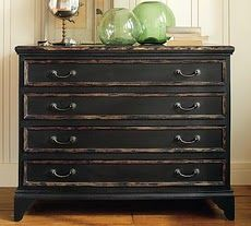 Painting how to for getting distressed furniture like Pottery Barn :)
