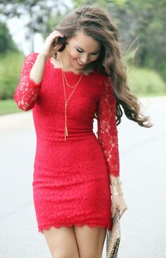 Lyon + Post Red Lace Dress