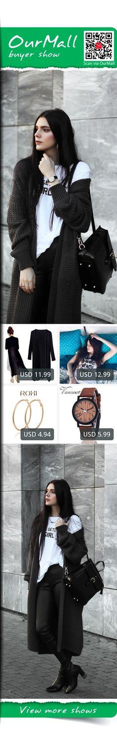 This is Holynights Claudia's buyer show in OurMall;  1.Cape Sweater Women Knitwear Chiffon Patchwork Knitted Long Autumn Black White 2.Letter Printed T-shirt White Crew Neck Basic Tee Female Elegant 3.For Women Statement Round Circle Earrings Ladies Fashion Ornaments Pure Hand Made... please click the picture for detail. http://ourmall.com/?rMJzMz