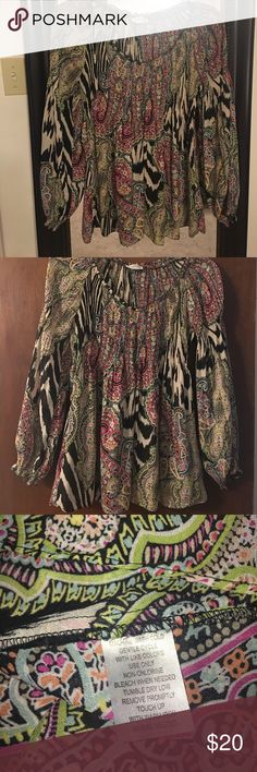 """Allusion Taylor Crinkled Top Super cute top!  Sheer lightweight fabric. Super stretchy!  Armpit to armpit approx 18"""" laying flat. Will expand comfortably several more inches. Allison Taylor Tops Blouses"""