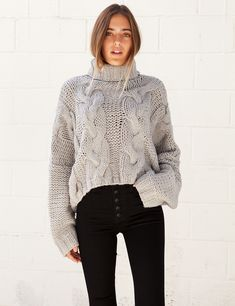 isabelle's cabinet Sweetheart Grey Turtle Neck - New Arrivals