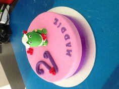 Choc mud cake with handmade Dorothy the dinosaur topper