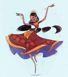 🎉EDIT: This drawing won the character design challenge for the month! Thank you all for liking it! 🎉Indian dancer for the character design challenge Character Design Challenge, Female Character Design, Character Design References, Character Drawing, Character Design Inspiration, Character Concept, Concept Art, Art And Illustration, Character Illustration