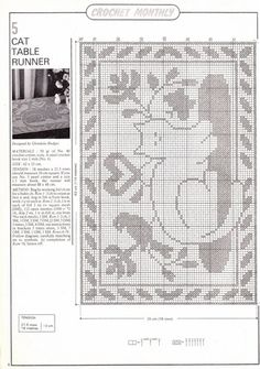 34 Ideas Crochet Cat Rug Cross Stitch For 2019 Filet Crochet Charts, Crochet Motifs, Crochet Diagram, Thread Crochet, Chat Crochet, Crochet Home, Crochet Crafts, Cross Stitching, Cross Stitch Embroidery