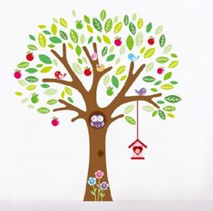 Apple tree with birds and Owl - Extra Large Wall Decal Sticker AW7223