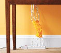 Trouser sock cord keeper, could also do with fabric and velcro to match wall?