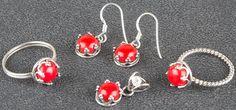 Silber Schmucksets - 925 Sterling Silber Coral Set - ein Designerstück von…