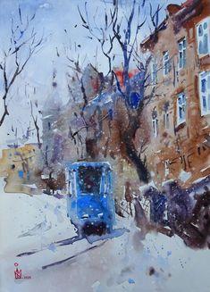 Original watercolor painting Watercolor Contemporary   Etsy Frame It, Winter Landscape, Etsy App, Contemporary Paintings, Sell On Etsy, Watercolour Painting, Original Artwork, The Originals, Artist
