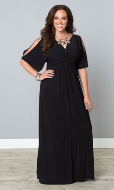 Black plus size maxi dress with cold shoulder sleeves is a stylish choice for any event!