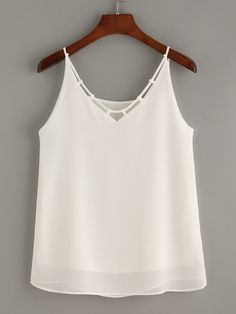 White Strappy Neck Chiffon Cami Top
