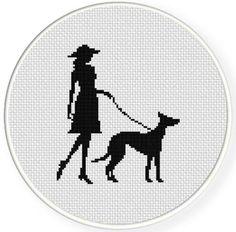 Lady and Her Dog Cross Stitch Pattern | Craftsy