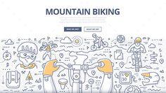 Mountain Biking Doodle Concept Vector EPS, AI Illustrator