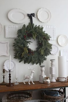 Hanging plates on wall Hang Plates On Wall, Hanging Plates, Plate Wall, Noel Christmas, All Things Christmas, Xmas, White Christmas, Simple Christmas, Beautiful Christmas