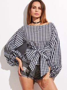 Shop Gingham Bow Front Lantern Sleeve Topversized La online. SheIn offers Gingham Bow Front Lantern Sleeve Topversized La & more to fit your fashionable needs.