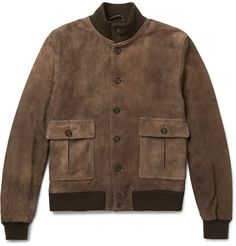 Italian label Valstar came up with its 'Valstarino' jacket as a sophisticated take on the A-1 flight model. Cut from butter-soft washed-suede in a rich chocolate hue, this twill-lined piece is characterised by bellows pockets and ribbed jersey trims that trap warmth. Wear it with jeans and boots.