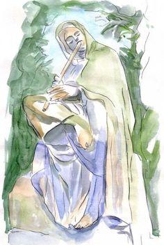 Statue le joueur de flûte d'Emile Gaudissard - Peinture, 30x20 cm ©2011 par Catherine Rossi - Alger, Jardin d'Essai, Emile Gaudissard