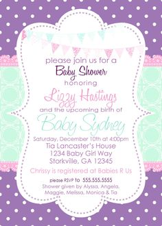 Baby Girl Shower Invitation Purple & Aqua by pickledoodledesigns, $14.00
