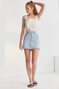 Slide View: 3: Levi's Deconstructed Denim Mini Skirt