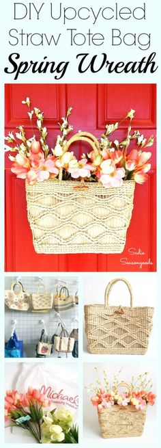Fill a thrift store straw tote bag / purse with gorgeous artificial flowers, and hang it from the door for a unique and gorgeous spin on a Spring Wreath! This is one of the easiest repurposing projects out there- it just takes minutes to arrange and put together, but looks AMAZING when you're done! Simple, easy, inxpensive and gorgeous seasonal decor by #SadieSeasongoods / www.sadieseasongoods.com