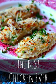 The Best Chicken Ever - DONE in 30 minutes! Pinner used chicken tenders. Chicken is SUPER moist and cheesy The BEST Chicken Ever Recipe - Secret is sour cream and parmesan cheese. Turkey Recipes, Chicken Recipes, Baked Chicken, Recipe Chicken, Chicken Ideas, Cheesy Chicken, Chicken Soup, Food Dishes, Main Dishes