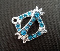 Aqua Blue Rhinestone Silver Toggle Clasp by EthnicBeadShop on Etsy, $2.40