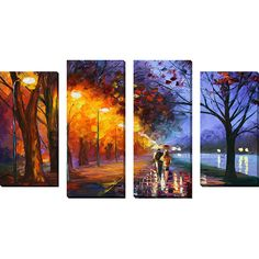 Found it at Wayfair - 'Alley by the Lake 2' by Leonid Afremov 4 Piece Painting Print on Wrapped Canvas Set