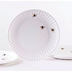 """""""What Is It?"""" Reusable White Dinner Plate with Bees, 9 Inch Melamine, Set of 4"""