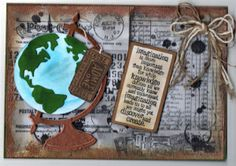 Tim Holtz Vintage Globe Die & Admit One Stamp, Artistic Stamper Background stamps.My favourite card design so far! Stayed up till 4am to finish this, I so deserved my Saturday afternoon Snooze!