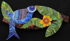 """Blue Bird 23"""" x 13"""" glass, beads, millefiori, gold, dichroic glass 2008"""