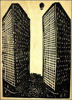 Xilografía de Jean Charlot para el poemario Urbe (1924), de Maples Arce.  Común a todas las ciudades modernas, el rascacielos expresa la aspiración estridentista al cosmopolitismo. Bauhaus, Harlem Renaissance, Amsterdam School, Engraving Printing, Ligne Claire, Magic Realism, Mexican Art, Art Deco, Cubism