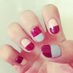 Half color blocking nails, Love the design not the colors.