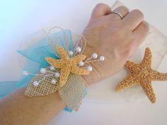 Wrist Corsage Beach Wedding Starfish Corsage by TwiningVines